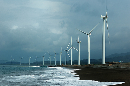 Bangui Bay wind farm in Ilocos Norte, Philippines