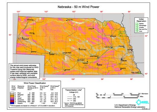 Wind farm dedicated in Nebraska with 43 wind turbines