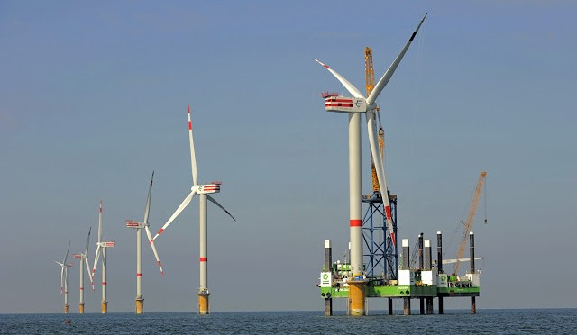 Offshore Wind Farm Nordsee Ost: All wind power units erected at sea