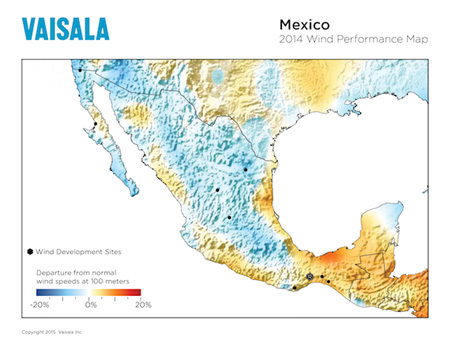 2014 Mexico Wind Energy Performance Map, released by Vaisala