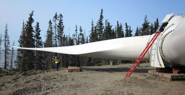 Wind farm rises on Alaskan island