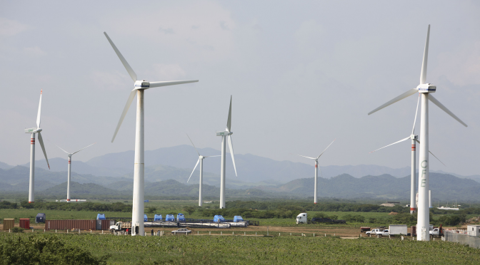 Wind energy in Mexico: wind farm in Nuevo Leon