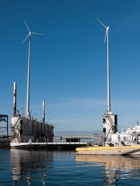 Wind turbines installed at Honolulu Harbor site