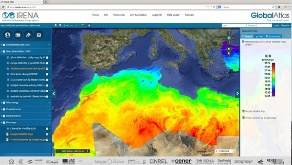 Global online atlas for solar power and wind energy