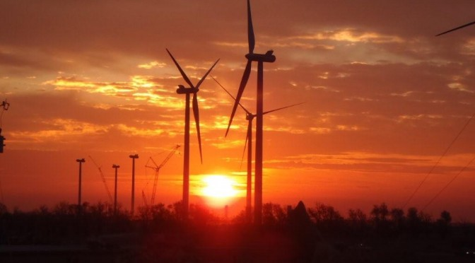 Wind energy in Brazil: Enel Green Power wind farm connected with 34 wind turbines in Pernambuco