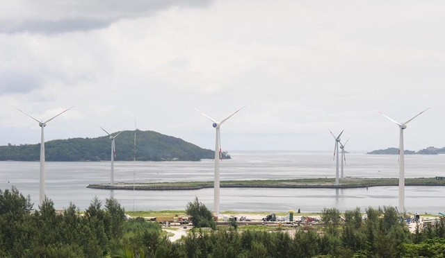 Wind power in Seychelles islands: wind turbines producing desired output