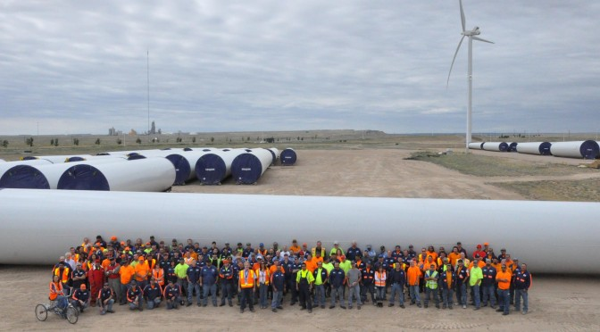 U.S. wind power: Vestas wind turbines for a wind farm in Maine