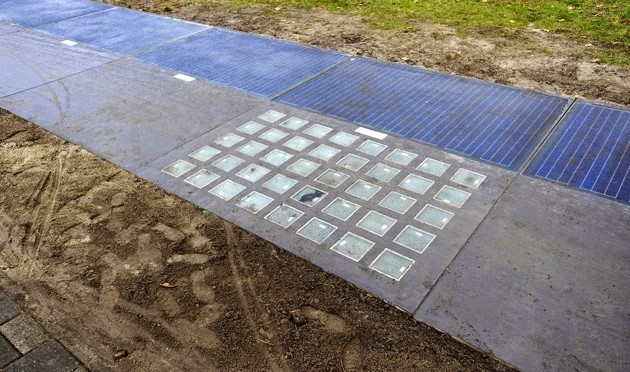 Dutch test SolaRoad solar photovoltaic panels on bike path
