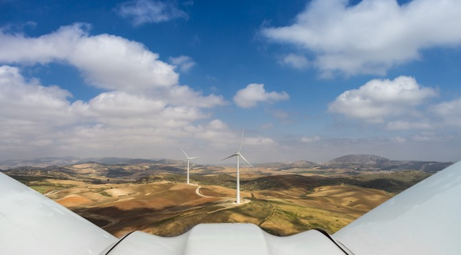 Wind power and renewable energy in Mexico: Wind Farm of Bank of Santander with 121 Gamesa wind turbines