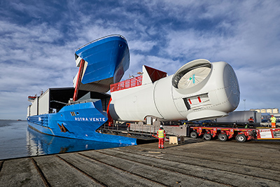 Siemens Wind Power presents first customized turbine transport vessel in Esbjerg