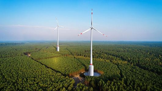 Huge wind turbines are to combine with hydropower in a Germany