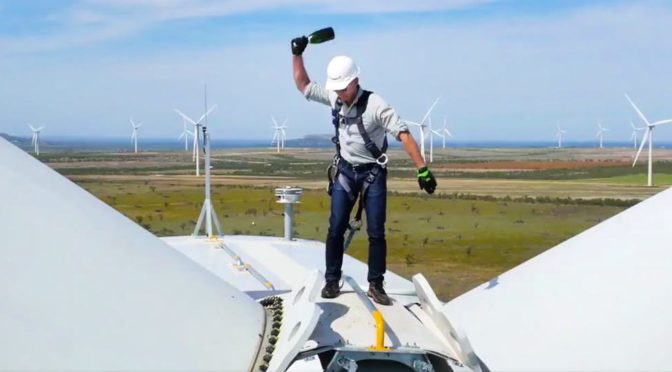 Jeff Bezos made headlines by smashing a bottle of champagne to launch Amazon Wind Farm Texas