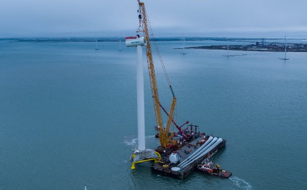 Mammoet installs four wind turbines at Nissum Bredning near shore wind farm