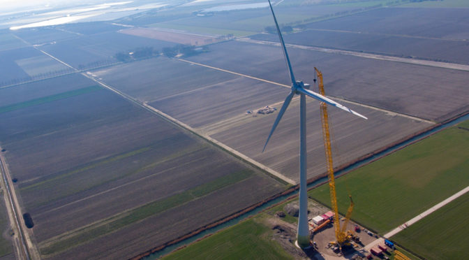 Enercon EP3 wind turbine installed at Wieringermeer wind energy test site in the Netherlands