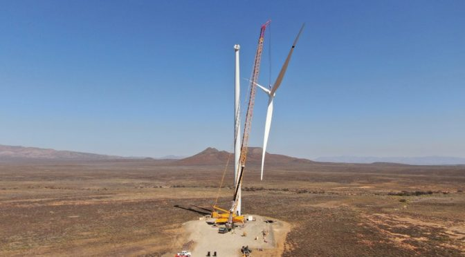 Local workforce raises first wind turbines on Western Cape wind farm