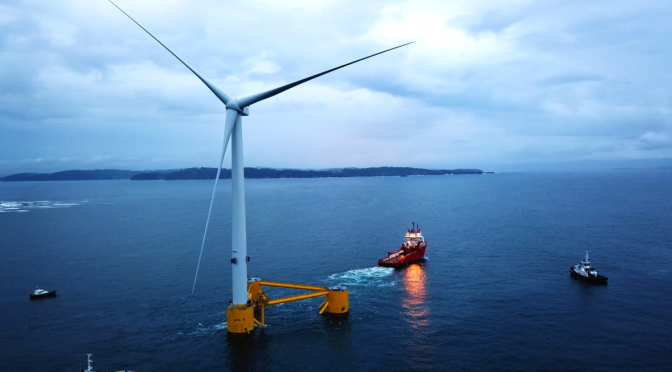 Floating wind energy: First wind Turbine of WindFloat Atlantic Moves Into Position