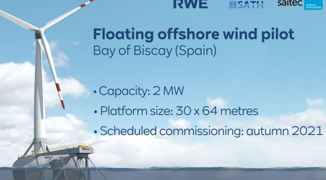RWE Renewables and Saitec Offshore wind energy Technologies test floating platform for wind turbines