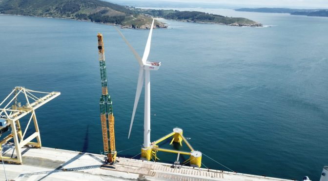 Final wind turbine sails to WindFloat Atlantic project site for installation