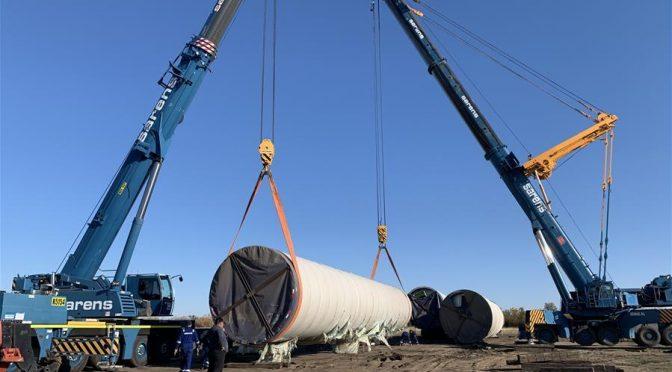 5 wind turbines installed on 50-megawatt wind farm in Kostanay, Kazakhstan