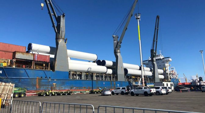 A set of wind turbine parts destined for New Zealand's largest wind farm have arrived in Hawke's Bay
