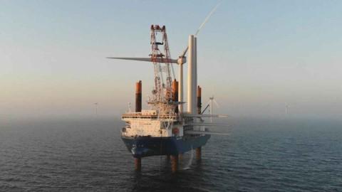 All wind turbines installed at Kriegers Flak Offshore Wind Farm